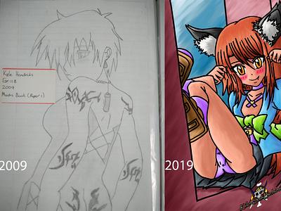2009 vs 2019 painting digital