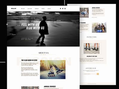 Roller Club Template/ Homepage ui ux design roller skate roller website design webdesign web design website web
