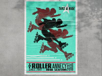 Vintage letterpress poster roller skate roller poster a day poster design poster art poster