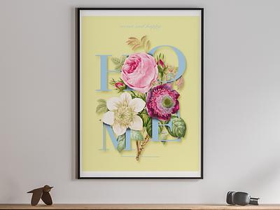 Flower poster design interior home design typography design illustration poster design poster art poster