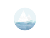 Ice & Sea circle painting water blue ocean triangle geometry sea ice logo