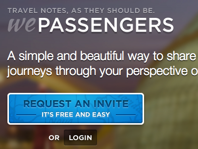 WePassengers, Landing page wepassengers passengers travel notes ui web button login landing