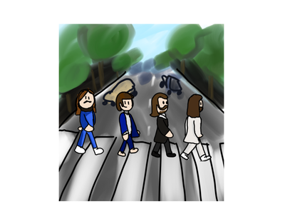 The Beatles Abbey Road Album Coer illustration drawing asher animates asher album the beatles