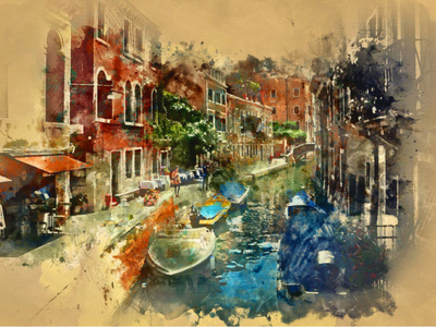 Watercolor Photoshop Action photo ،texture ،water color paint effects design drawing creative canvas artistic art action