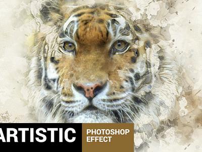 Paintum - Sharp Painting Photoshop Action scare fear animal watercolor  ،pencil، tiger modernart، sketch paint painting artwork artistic art