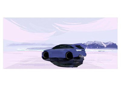 Car on ice (Audi RS6) racing sport landscape architecture dribbble top pink cloud trees water snow mountain car sportscar audi designer digital painting illustration design illustrator landscape