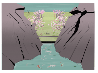 Animal farm / Cozy park graphicdesign design digitalart illustration illustrator japanese art people grain dribbble top summer mountains trees fox creak water koi bunny landscape japanese style
