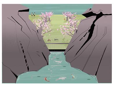 Animal farm / Cozy park graphicdesign design digitalart illustration illustrator japanese art people grain dribbble top summer mountains trees fox creak water koi bunny landscape japanese style