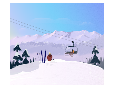 Skier relaxing, drinking coffee art illustration art sun snowboard cold coffee winter sports skier trees mountain winter ski illustrations digitalart adobe designinspiration graphicdesigner designinpiration illustration dribbble