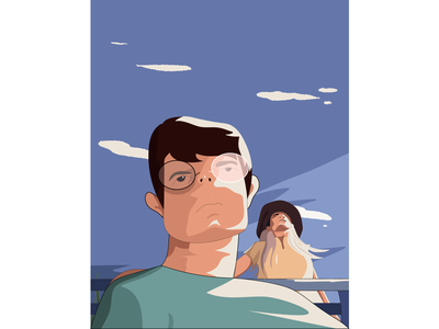 A Sunny Day Would Be Nice artistic direction bench clouds sunshine sunny glasses woman man classical illustration art drawing artist landscape digital design illustrator top flat dribbble design illustration