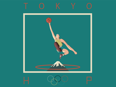 Tokyo Hoop / Olympic Games olympic games sports design adobe ilustrator poster dunk air player basketball ball sports man people mountain digital design top illustrator flat design illustration