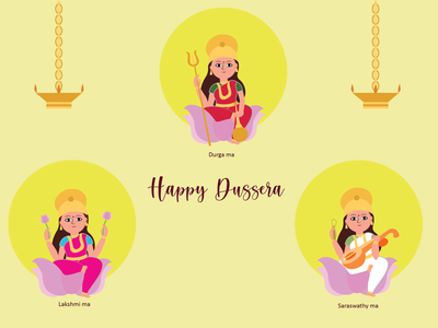 happy dussera ! design lakshmi saraswathy durga dussera vector minimal illustration