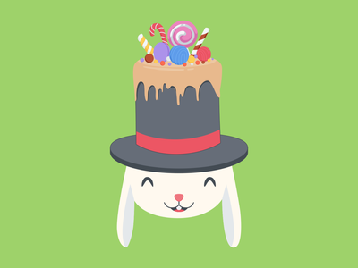 magician rabbit creative character happy cute graphic design art illustrator website flat web app vector illustration design