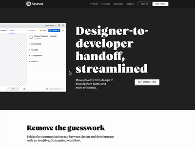 Designer-to-developer handoff, streamlined type ui product design inspect handoff designer developer animation abstract