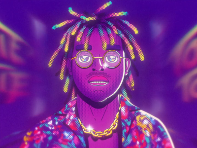 Tookie Tookie Headshot illustration walk cycle 3d animation glasses head chain rapper music arcade motion lipsync after effects hiphop character