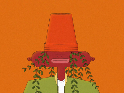 Plant Rapper illustrator noise grain music rap spring rig lips mouth pot leaf plant color singer hip hop lipsync mp4 illustration after effects character
