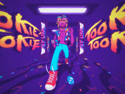 Tookie Tookie Visualizer retro music neon cel animation walk cycle visualizer cel dance rap 3d 2d animation hip hop video games arcade halftones walkcycle frame by frame character
