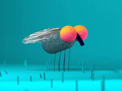 Hard House Fly prorender cinema4d loop music animation housefly fly smears insect dance primitive 3d character