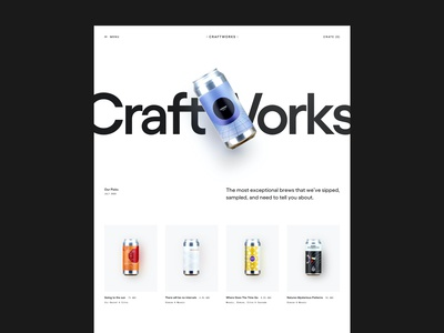 CRAFTWORKS - Playing with hero section ideas type typography store shop whitespace minimal clean layout grid craft beer beer