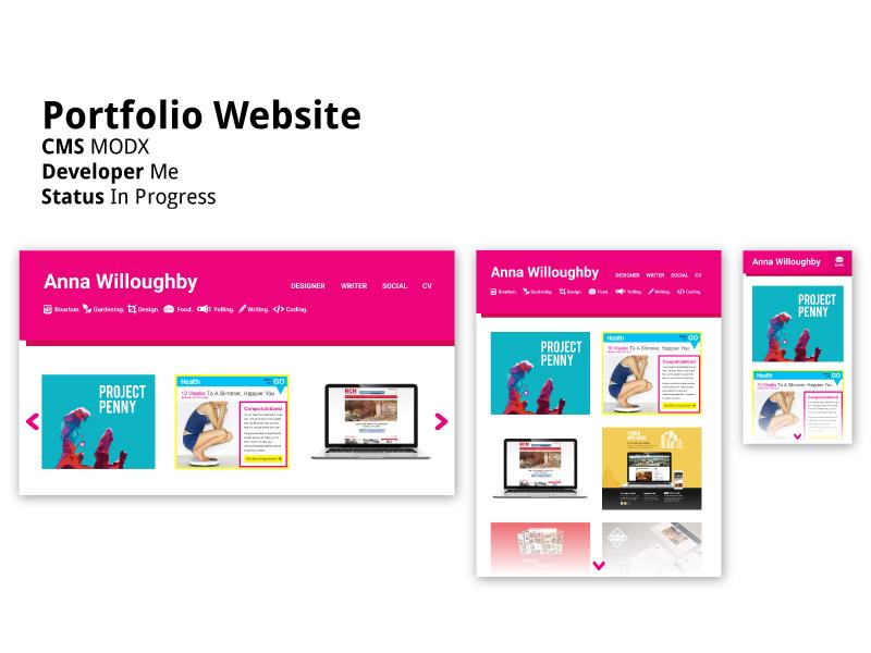 @happybana Portfolio Website responsive minimal bold magenta pink webdev designer developer modx