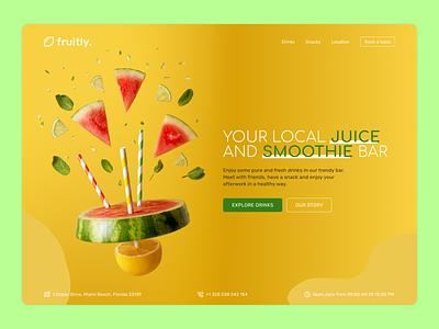 fruitly. Juice & Smoothie bar restaurant healthy fruit food drink business bar smoothie juice landingpage website webdesign