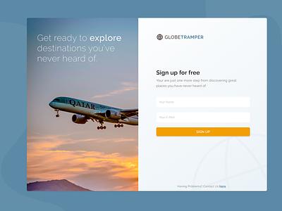 Sign Up Landing Page globe business login plane fly travel landing page landingpage 001 dailyui sign-up signup website webdesign