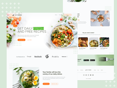 DailyUI #003 | Recipe App Landing Page eat dishes food webdesign website fresh 003 dailyui healthy cooking recipes app landing page landingpage