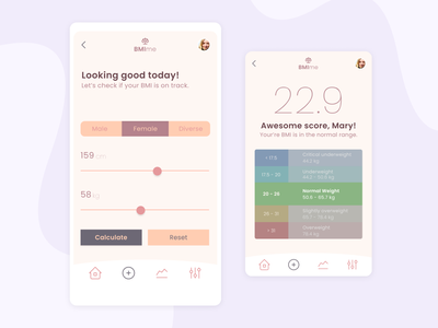 BMI Calculator App weight health challenge mobile soft colors pastel