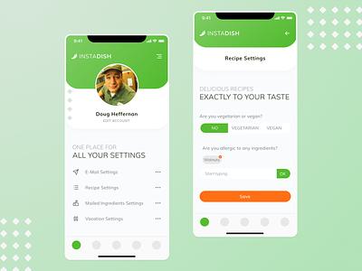 DailyUI #007 - Settings dailyui design food recipes profile settings mobile webapp app