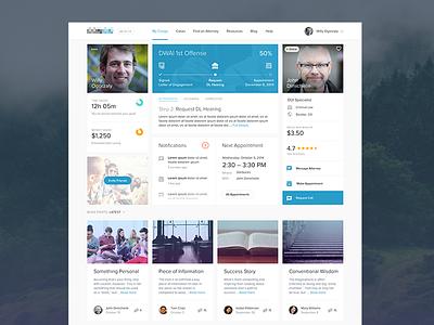 Legal Service App Dashboard UI ui dashboard widget app flat clean legal profile rating progress transparent web