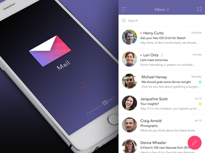 InVision Mail App Prototype ui ux invision app prototype mobile mail gif ae animation material iphone
