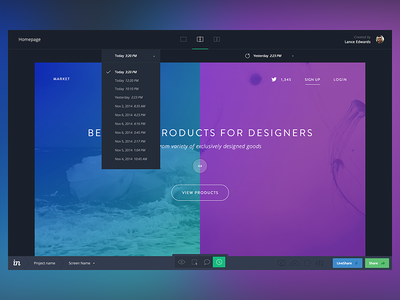 InVision History Mode ui ux invision app prototyping clean material mode history web desktop flat