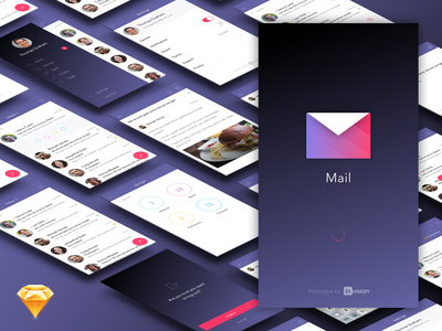 Free Mail App Ui Kit (Sketch) free iphone ui invision app prototyping material gif ae mobile mail sketch
