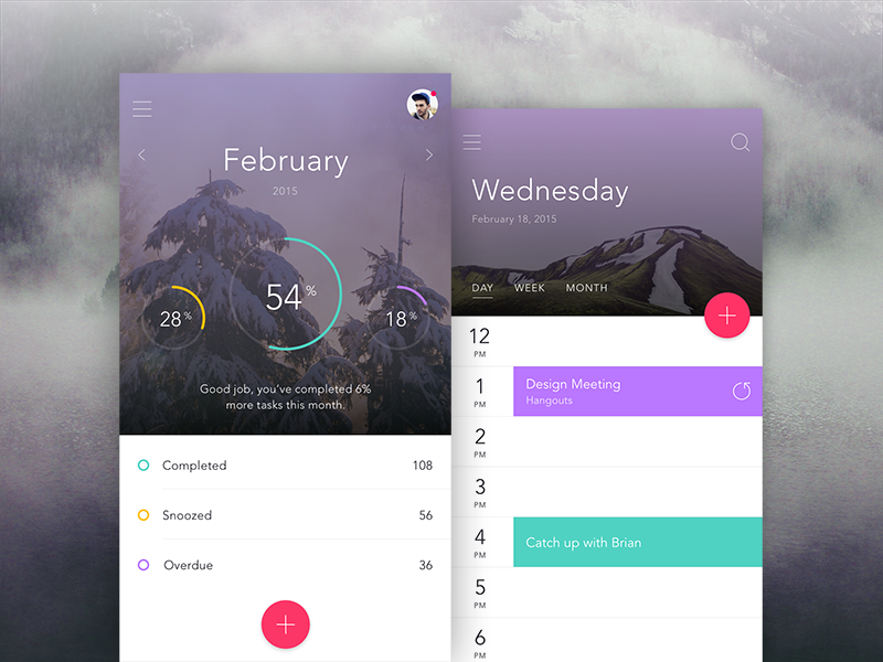 Dashboard & Calendar Views ui ux invision app prototyping iphone material dashboard calendar chart mobile graph