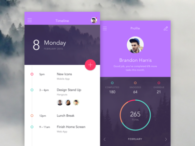 Timeline & Profile to-do ui ux invision app prototyping iphone material mobile timeline dashboard chart