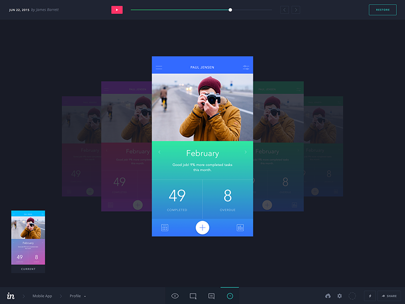 InVision History Mode (Mobile) mode history android mobile iphone web prototyping flat app invision ux ui