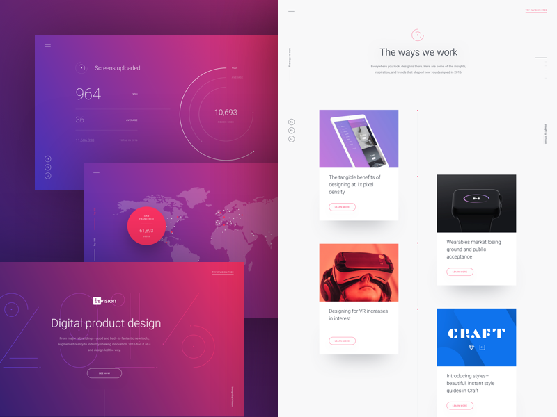 InVision's 2016 Year in Review animation responsive ux ui gradients cards timeline 2016 review end of year prototyping invision