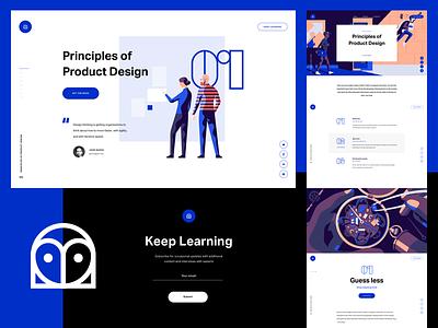 InVision - Design Education Web Portal ux ui illustration brand design book page landing layout education prototyping invision