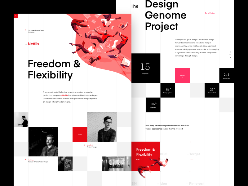 Introducing The Design Genome Project by InVision parallax web ux user ui invision genome page home landing grid design