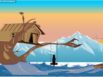 Lonely girl vector illustration landscape