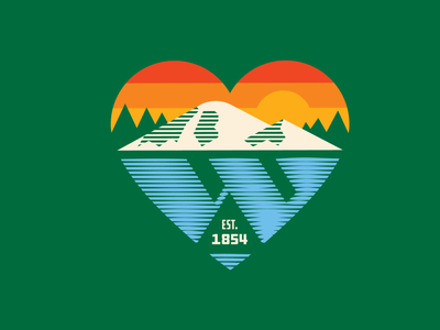 Heart of Whatcom County north cascades volcano pnw logo cascadia cascades green heart shadow reflection w logo sunrise bellingham whatcom county whatcom mt. baker heart logo