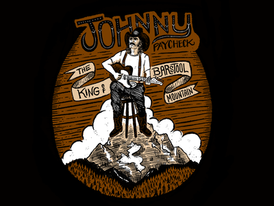 Johnny Paycheck barstool working class blue collar outlaw country country music band shirt t shirt mountain banner hand type apple pencil procreate cowboy illustration johnny paycheck