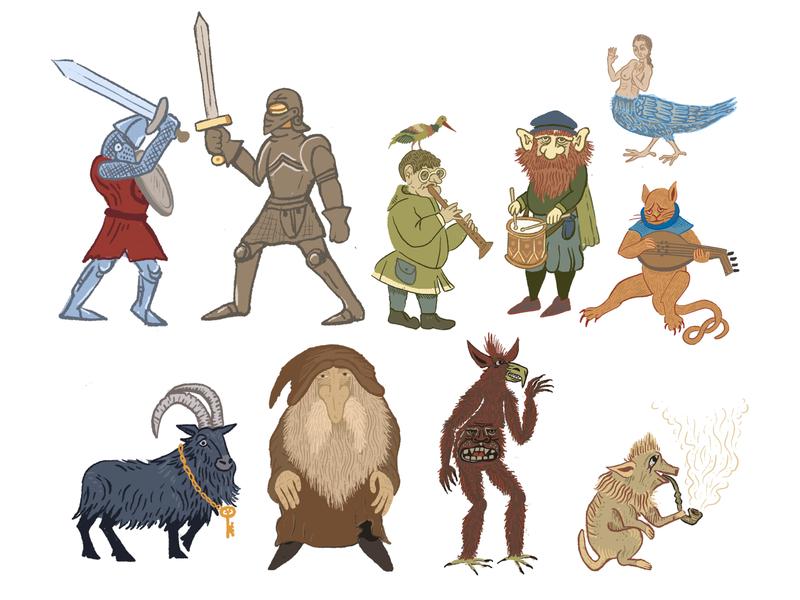 Medieval Characters demonic demon warthog black goat beard sword fight music video procreate brian froud jim henson magic goat wizard knights minstrel band characterdesign fantasy illustration
