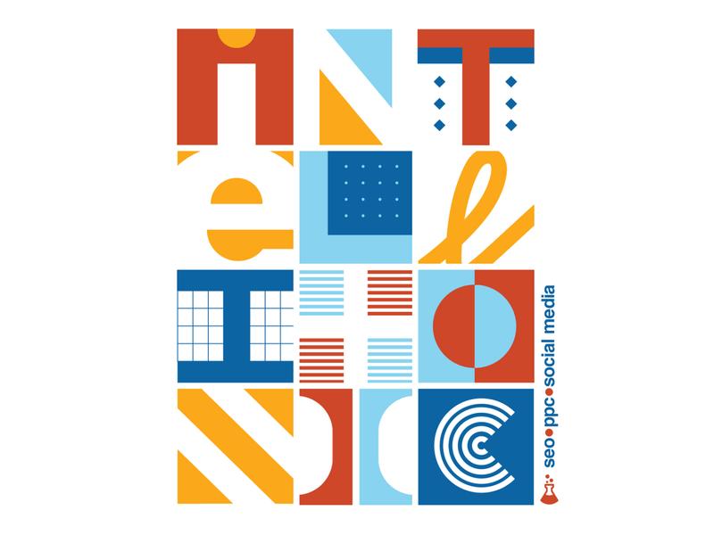 I N T E L L I T O N I C seo search engine circuit ai intelligent triangular shapes square circular logo helvetica geometric custom lettering grid layout grid swiss type swiss typography