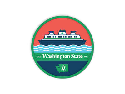 Washington Ferry Patch pnw pacific northwest waves ferry icon illustration alaska ferry san juan islands wsdot washington state boat ferry