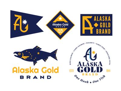 Alaska Gold Brand diamond sitka commercial fishing gold and blue typography letter mark fish hook north star big dipper alaska flag fish logo salmon alaska logodesign rebrand brand