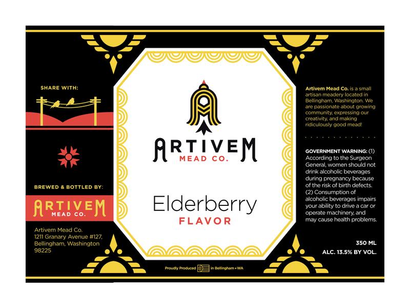 Artivem Mead Label gotham goldfinch illustrator wine label design pnw bellingham small batch craft wine craft beer craft mead mead wine label wine