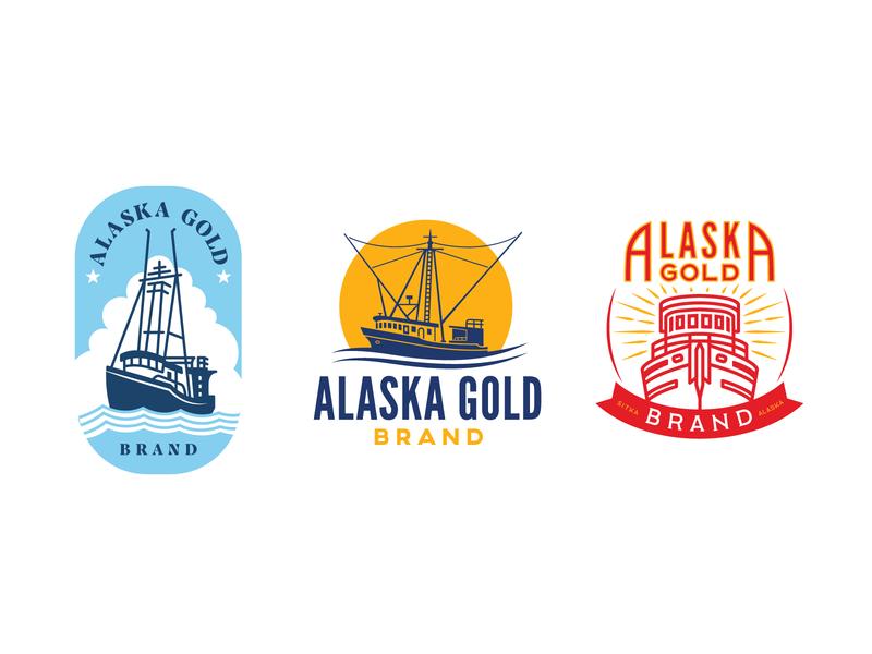 Golden Alaska Ships salmon fisherman illustration vector rebranding branding logo design badge design commercial fisherman alaska sitka alaska logo boat logo fishing boat boat ship trawler