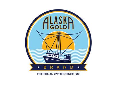 AGB3 cannery boat logo waves sea ocean vintage golden logo gold sunset badge trawler commercial fishing seafood rebrand fisherman fishing boat salmon alaska