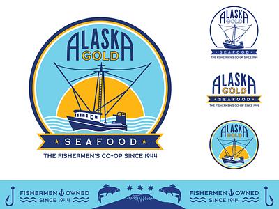 Alaska Gold Seafood Rebrand sunset typography salmon seafood fishing rod trawler pacific ocean commercial fishing sitka illustration wooden boat co-op fisherman fishing rebrand logo badge waves alaska ship